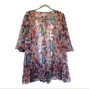 American Eagle Kimono Ruffle Hem Paisley Floral M